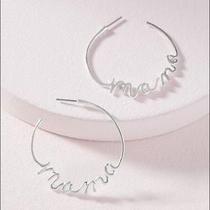 Stella & Dot script mama earrings in silver